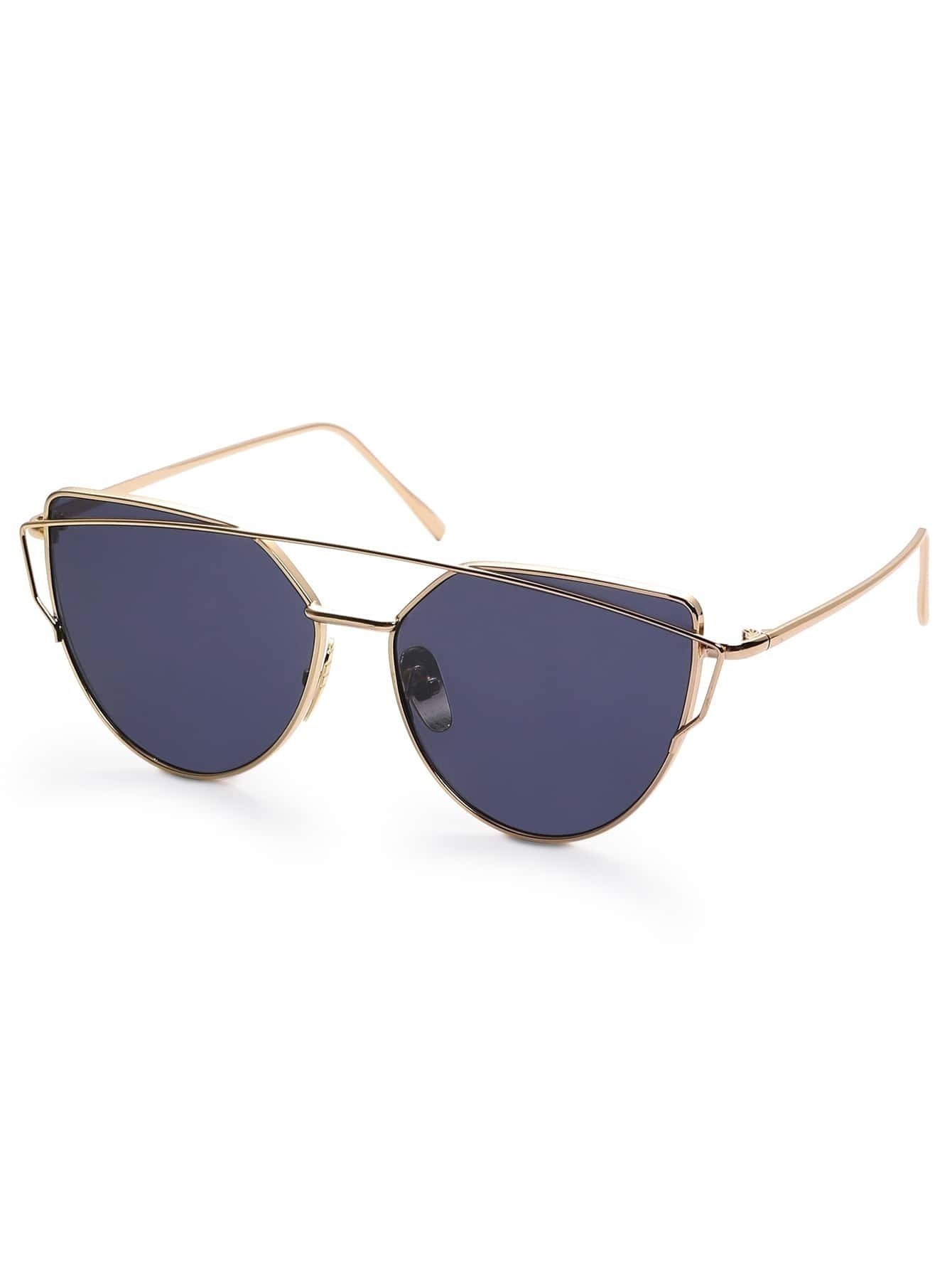 Golden Frame Black Sunglasses : Gold Frame Black Reflective Lenses Sunglasses EmmaCloth ...