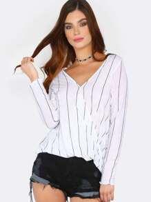 Overlap Stripe Long Sleeve Top WHITE
