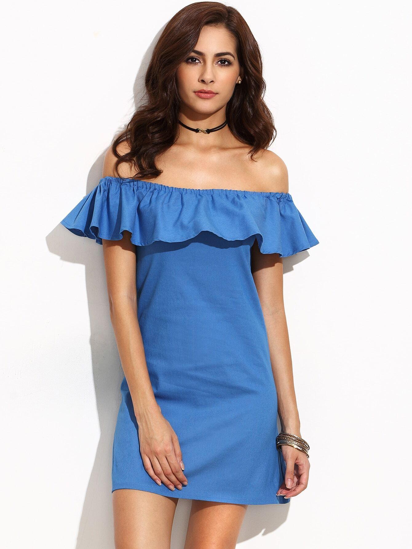 Blue Ruffle Off The Shoulder Dress EmmaCloth-Women Fast Fashion Online