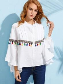 White Tassel and Embroidered Tape Embellished Poncho Blouse