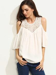 White Crochet Cold Shoulder Blouse