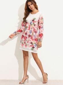 Multicolor Print Long Sleeve Dress