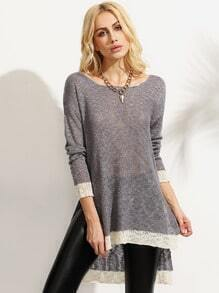 Grey Long Sleeve Split Knitted T-shirt