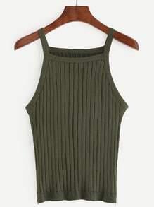 Plain Army Green Knit Cami Top