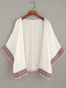 White Pom Pom and Embroidered Tape Trim Kimono