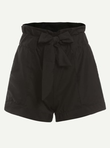 Black Ruffle Waist Self Tie Shorts