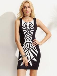 Black and White Print Sleeveless Bodycon Dress