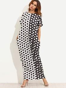 Black and White Polka Dot Print Pockets Maxi Dress