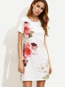 White Flower Print Short Sleeve Dress