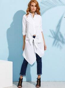 White Knotted Front Long Blouse