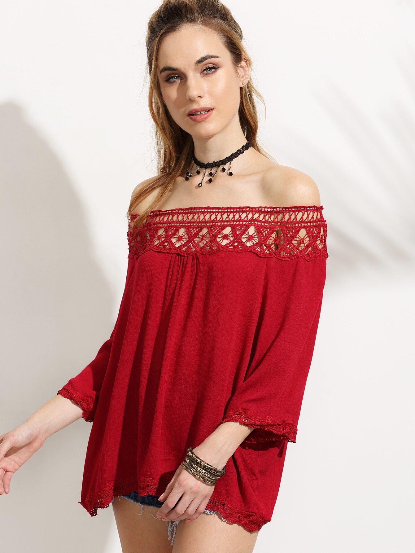 Red Crochet Insert Off The Shoulder Top Emmacloth Women