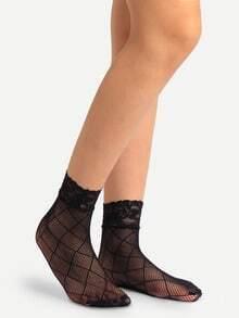 Black Crisscross Hollow Mesh Lace Ankle Socks