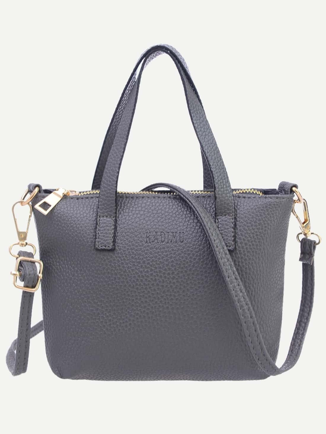 Grey Pebbled Faux Leather Tote Bag With Strap EmmaCloth-Women Fast ...