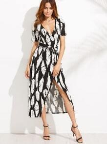 Deep V Neck Feather Print Self Tie Split Wrap Dress