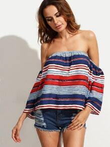 Multicolor Striped Off The Shoulder Blouse