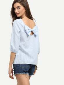 Blue Striped Bow Back Blouse