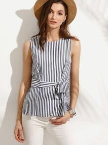 Striped Zipper Back Tie Waist Sleeveless Blouse