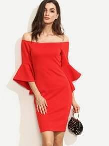 Red Ruffle Sleeve Off The Shoulder Split Sheath Dress