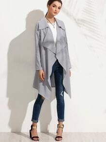 Grey Lapel Long Sleeve Outerwear