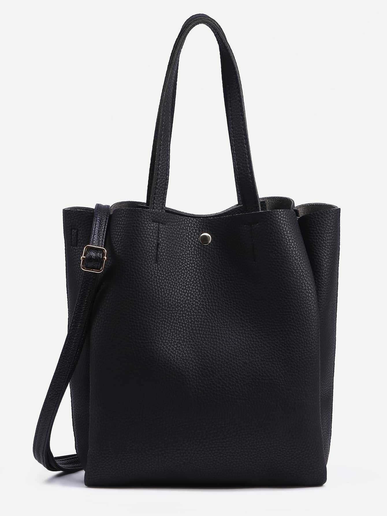 Black Pebbled Layered Tote Bag With Strap EmmaCloth-Women Fast ...