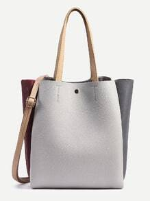 Color Block Pebbled Layered Tote Bag With Strap