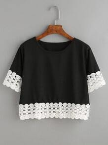 Black Contrast Crochet Trim Crop T-shirt