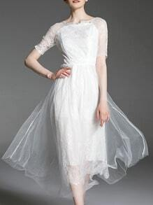 White Gauze Embroidered Lace A-Line Dress