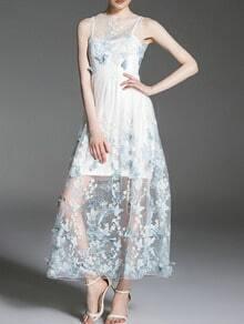 White Blue Gauze Butterfly Applique Dress