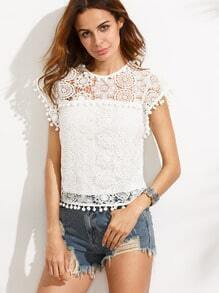 White Pompom Trim Lace Blouse