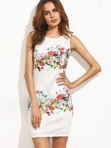 Multicolor Floral Sleeveless Bodycon Dress