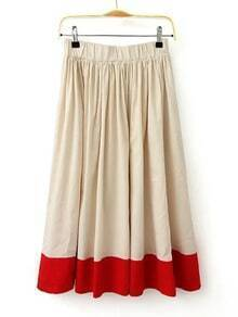 Beige And Red Elastic Waist Pleated Skirt