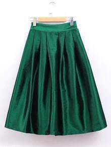 Green Zipper Side Umbrella Skirt