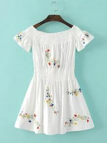 White Off The Shoulder Embroidery Girdling Dress