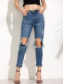 Blue Knee Ripped Jeans
