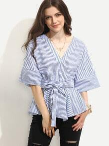 Blue Striped Tie Waist Surplice Blouse