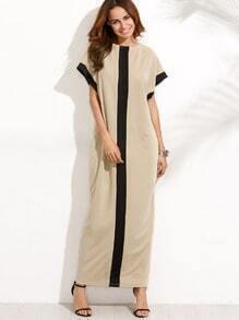 Colorblock Pocket Short Sleeve Maxi Dress