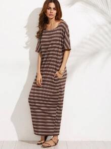 Multicolor Striped Pocket Half Sleeve Maxi Dress