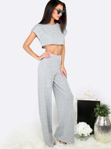 Grey Crop Top With Pocket Wide-leg Pants