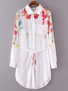 White Lapel Floral Pocket Shirt Dress With Belt