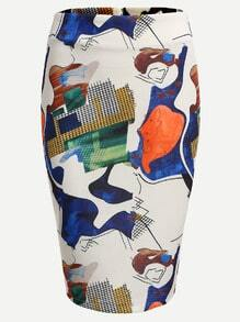 Abstract Print Zip Back Pencil Skirt