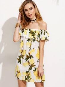 White Lemon Print Ruffle Off The Shoulder Dress