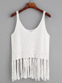 White Fringe Trim Knit Tank Top
