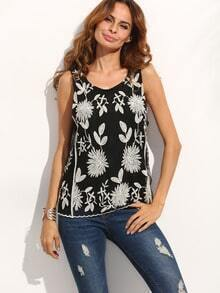 Black Floral Embroidery Sleeveless Blouse