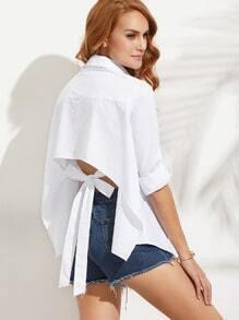 White Long Sleeve Bow Tie Back Asymmetrical Blouse