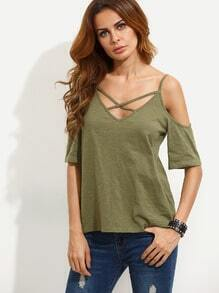 Army Green Crisscross Cold Shoulder T-shirt