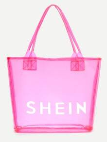 Hot Pink SHEIN Print Clear Beach Tote Bag