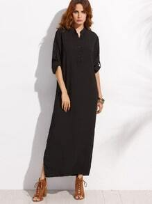 Black Half Placket Roll Sleeve Shirt Dress