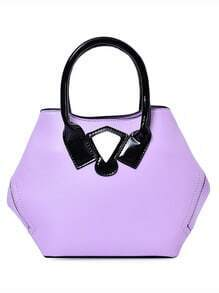 Purple Contrast Patch Hexagon Tote Bag