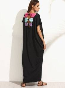 Black Pocket Bow Back Dolman Sleeve Maxi Dress