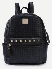Black Braided Studded Backpack